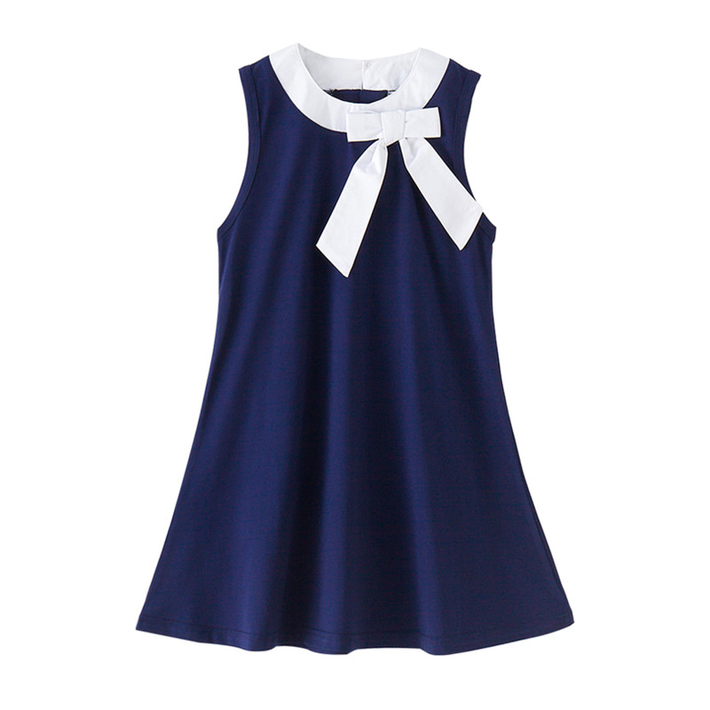 4 to 12 years kids & big girls summer navy blue big bow cotton casual flare dress children fahion sleeveless school dress