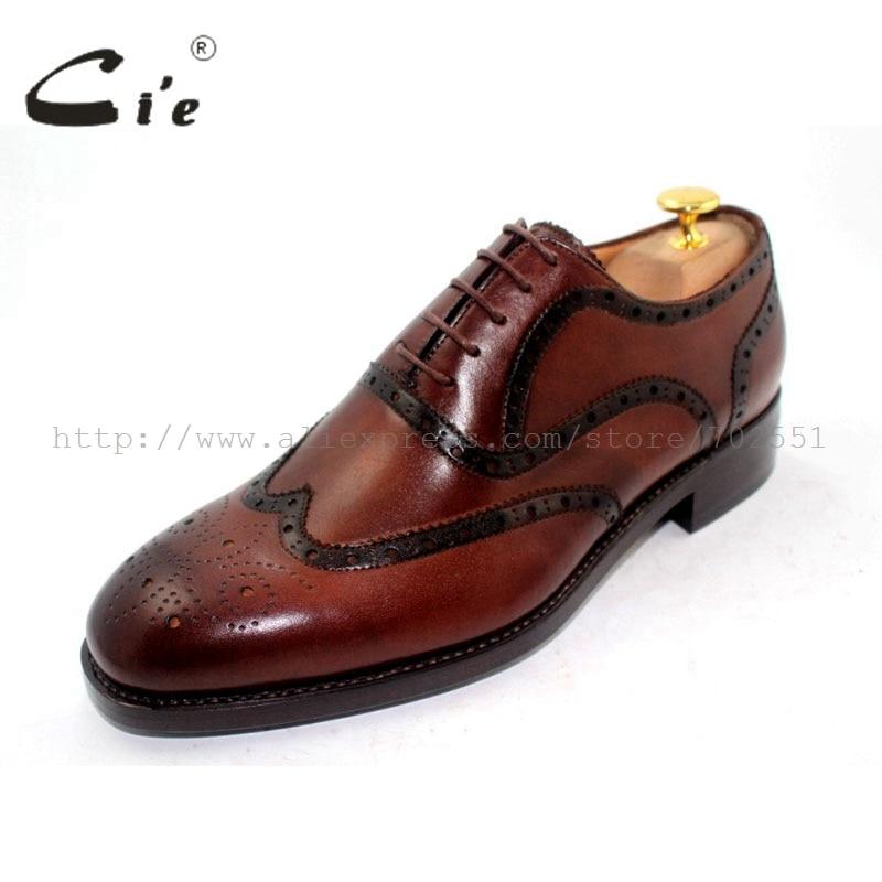 Echte Schuh Verschiffen Männer Kein Braun Freies Kalbsleder Farbe Oxford Brogues Schnürung Volle Handgemachte Rahmengenäht Ox188 Cie XTg0qg