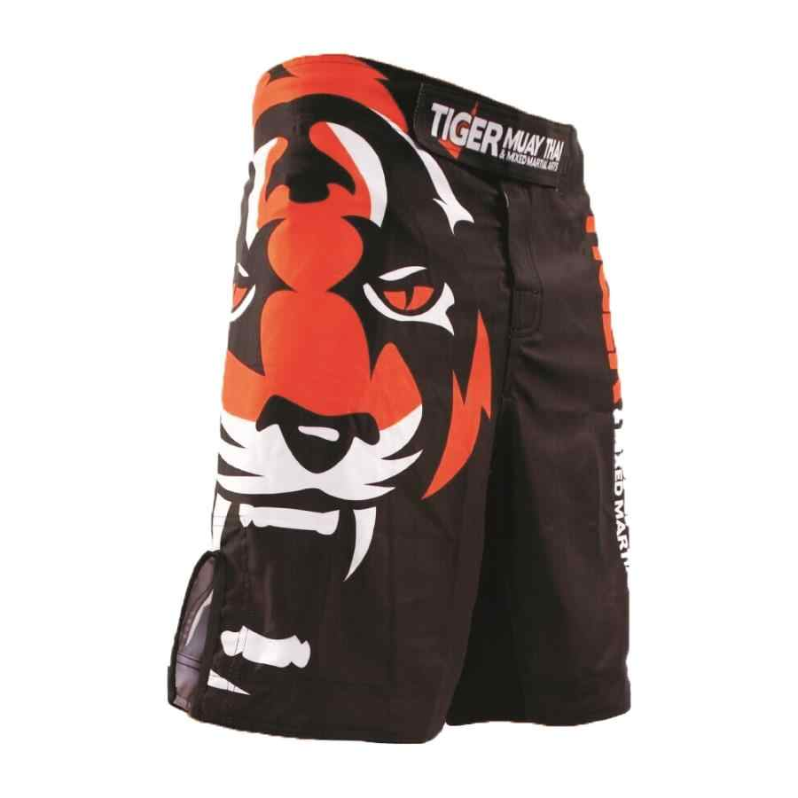 Mma Tinju Tiger Longgar dan Nyaman Bernapas Kain Poliester Kebugaran Kompetisi Pelatihan Celana Pendek Muay Thai Tinju MMA