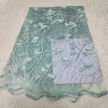 African Tulle Lace Fabric 2019 African French Lace Fabric High Quality Green 3 D Flowers Beads Embroidery Tulle French Lace