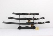replica store japanese black Tsuba real Japanese Katana sharpen Steel Blade Samurai Sword Set Katana Wakizashi