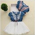 Baby girl clothes ropa de mezclilla pantalones vaqueros de costura del dril de algodón vestido de verano de manga corta de gasa vestido
