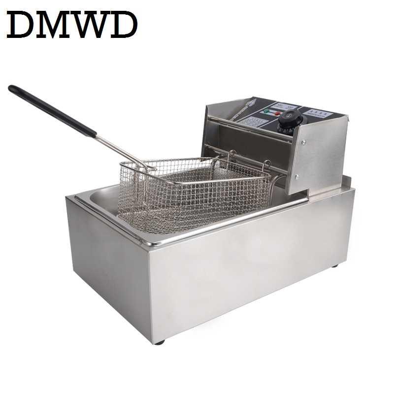 Elektrische friteuse Multifunctionele Huishoudelijke Commerciële Roestvrij staal Grill koekenpan frieten machine hot pot 6L 2.5kw