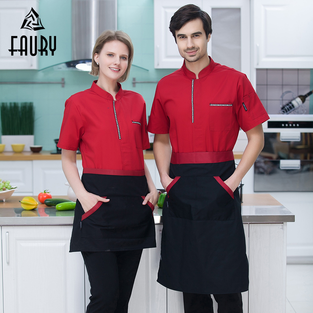 Catering Restaurant Hotel Waiter Chef Cooking Kitchen Clothing Summer Work Tops Short Sleeve Jacket High Quality Uniforms Apron