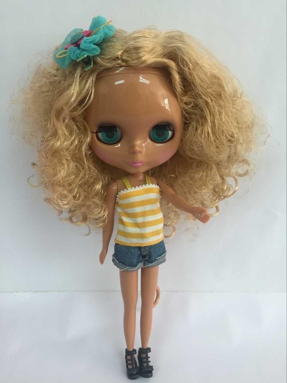 Bi 3 Blond long curly hair Nude blyth Doll black skin