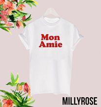 MON AMIE RED FRENCH RETRO CELEB LADIES WOMENS SLOGAN T SHIRT TEE TSHIRTFashion Design Free Shipping  Mens Shirts Fashion