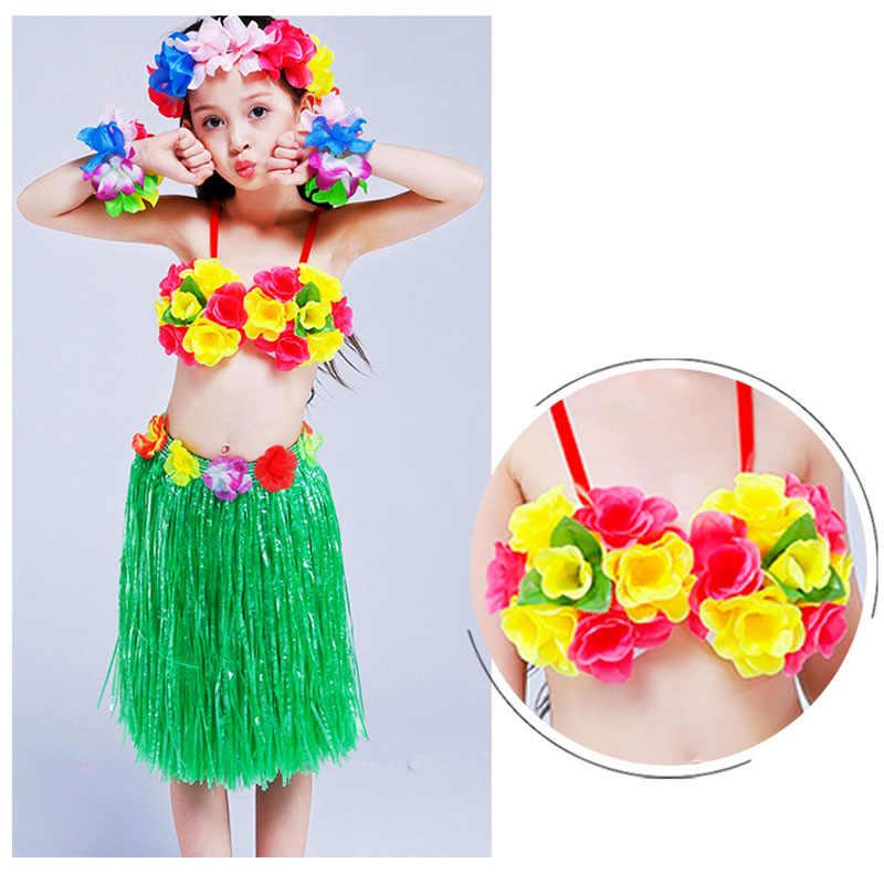 d4b95253d1bd ... 5PCS/set Plastic Fibers Kid Grass Skirts Hawaiian Costumes Bra Headband  Wristband 40cm Hula Skirt ...