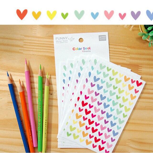 DIY Heart Star Dot Paper Sticker 6 Sheet/lot Scrapbooking Diary Kawaii Stationery For Girls Photo Album Decoration Sticker