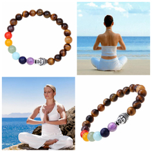 Wholesale Tiger Eyes Stone Bracelets & Bangles 7 Chakra Bracelet For Woman And Man Yoga Jewelry Wholesale Strand Beads Bracelet