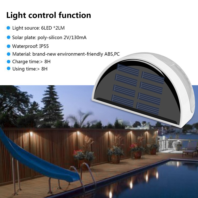 N760B 6 LED Wall lighting Solar Garden Light Waterproof Fence Garden Light Wall Lamp Auto ON/OFF for Outdoor Lighting