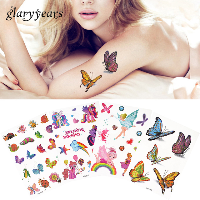 5 Pieces/lot Flash Glitter Cartoon Child Temporary Tattoo Colorful Butterfly Lovely Birds Pattern Back Thigh Body Tattoo Sticker