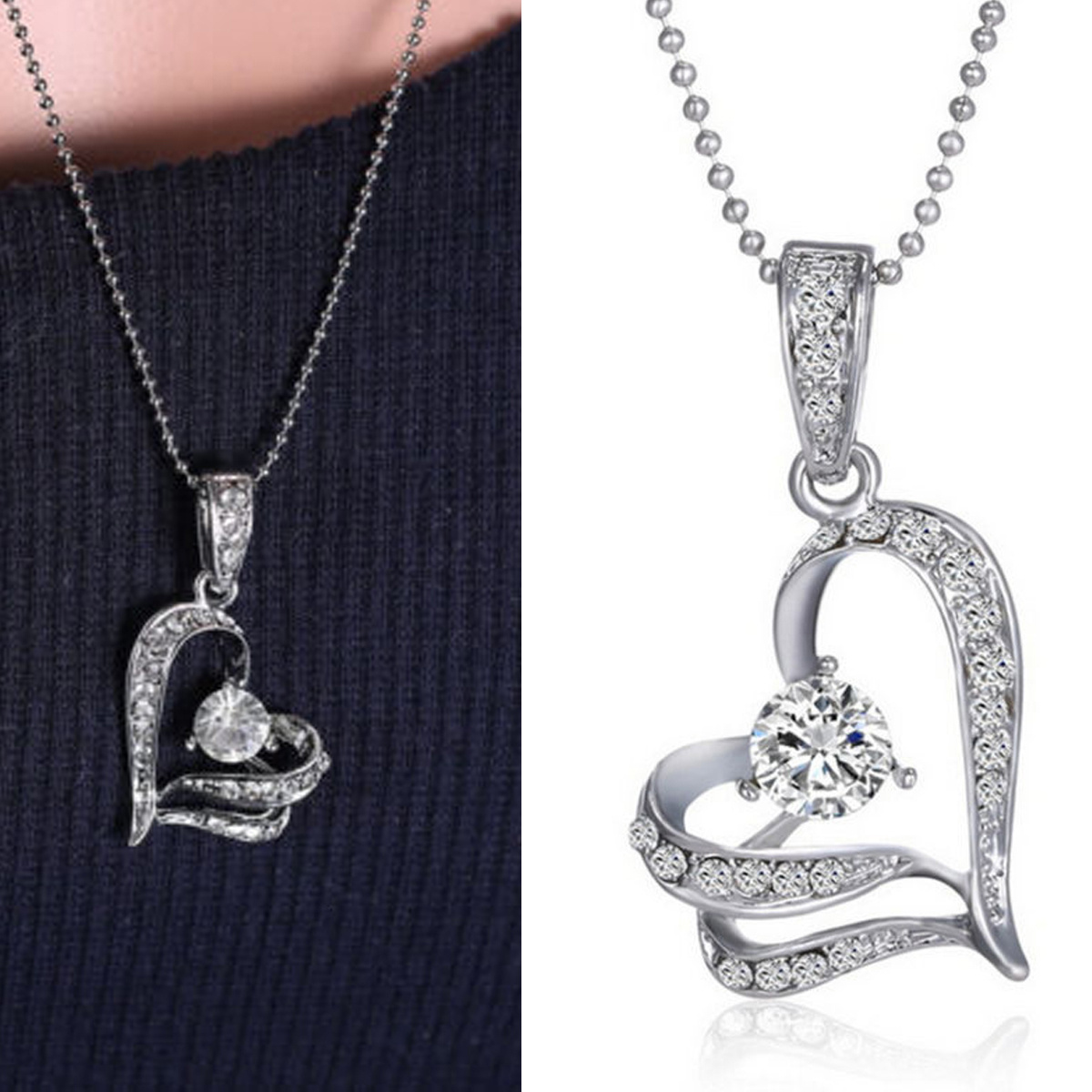 Womens Crystal Rhinestone Heart Pendant Necklace Silver Chain Hollow Double Love Heart Collares Sttatement Necklace Jewelry Gift