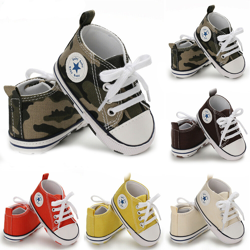 Newborn Baby Boys Girls First Walkers Pram Shoes Sneakers Soft Soled Toddler Infant Kids Pre-Walker 0-18M Cute Gifts Fashion New