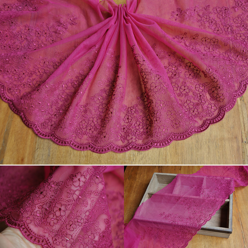 Free Shipping 13meters/pack 24cm/9.44 Red-Purple Net Lace Fabric Retro Embroidered Cloth Accessary Z1165