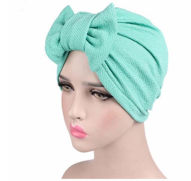 32ea7d1fa5f 2018 Fashion Women Big Bow Turban Hat Headdress Bow Knot Bonnet Hat Chemo  Hair Cap Soft