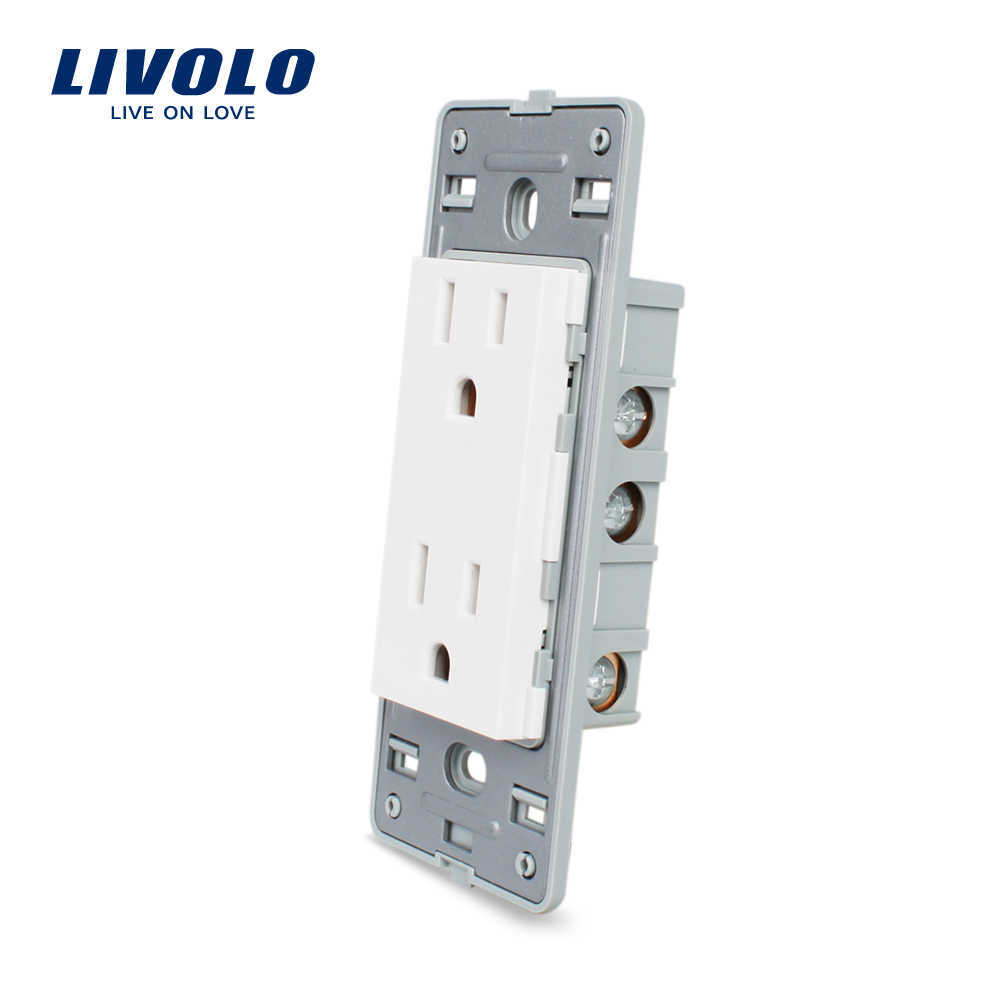 Livolo US standard Socket DIY Parts, White Plastic Materials, Function Key For US  Wall Socket, VL-C5-C2US-11/12
