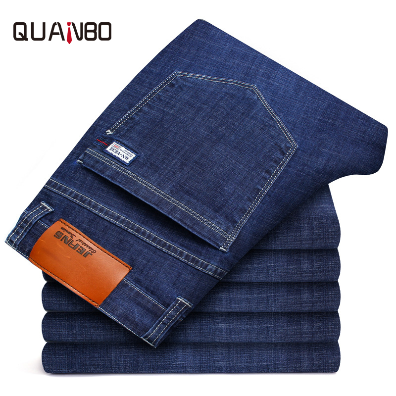 QUANBO Big size 44 46 Men's   Jeans   2019 New Summer Thin Elastic Slim Fit Straight Classic   Jeans   Business Casual Denim Trousers