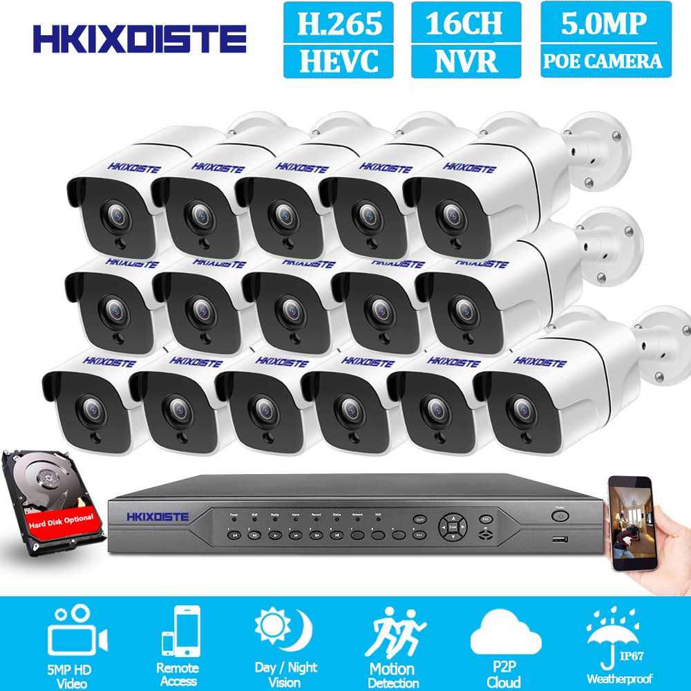 H.265 POE CCTV camera Security System NVR 16CH Full HD 4K 5MP kit plug and play Surveillance Outdoor IP Camera Set POE Equipment image