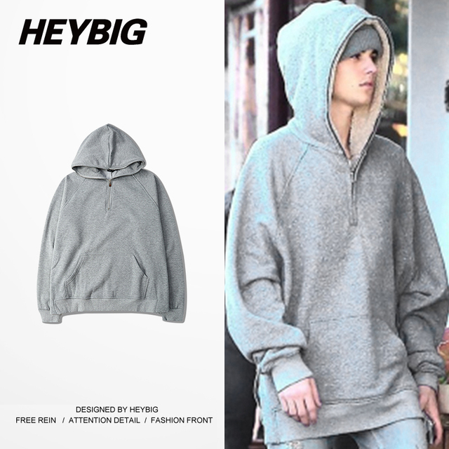 Side split Zipper to top Hood 2016 Dec. Bieber fashion Youth High Street Tracksuits Winter Fleece Warm clothing Chinese Size