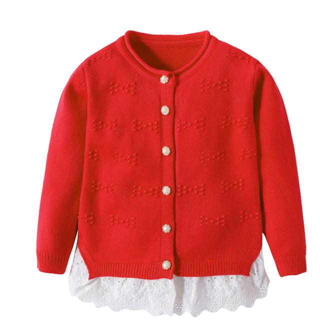 Niñas Suéteres de algodón Tapa Sólida Con Botón de Manga Larga de Los Niños Ropa de Abrigo Niña Niño Cardigan Otoño Invierno Suéter de Los Cabritos
