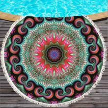 06e36fdce7d1 1 PC Penas Borla Mandala Tapeçaria Boho Rodada Toalha De Praia Rosa e Azul  Bohemian Yoga