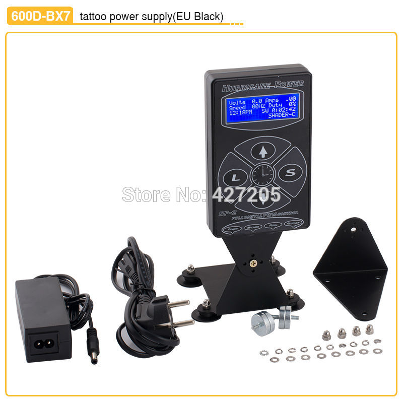 High Quality Black Stand Tattoo Power Supply with Digital LCD Display Liner Shder Dual Setting for Machine Kits Free Shipping 2014 new free shipping dual display hk 809 with waistbelts machine for pedicure