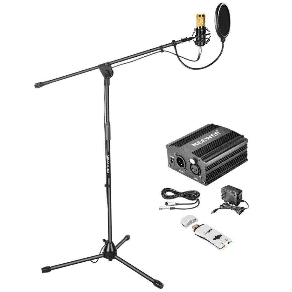 все цены на Neewer Condenser Microphone Kit: NW-800 Microphone (Gold) Microphone Floor Stand 48V Phantom Power Supply Shock Mount Pop Filter онлайн