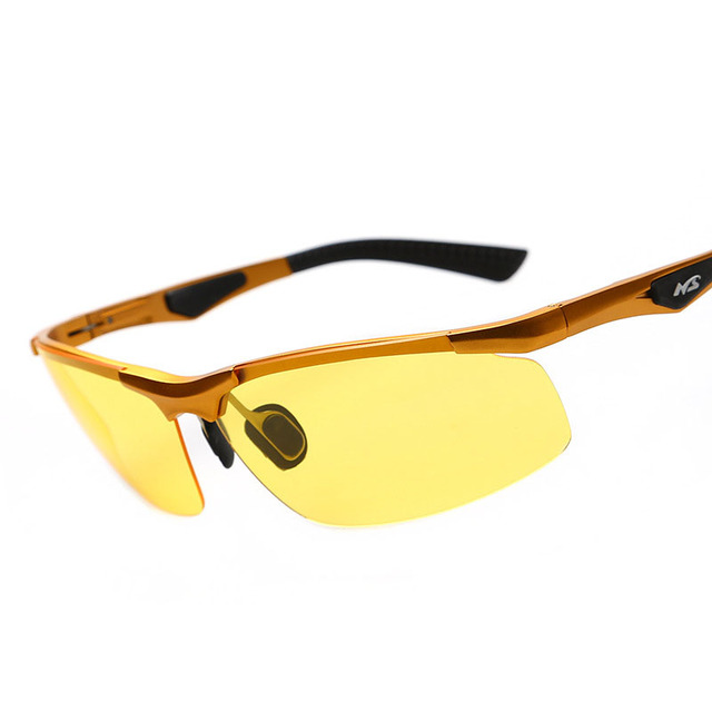 Lente amarela óculos de Visão Noturna Óculos Polarizados Óculos De Sol Dos Homens de Luxo Da Marca Óculos de Condução de Alumínio E Magnésio Quadro Para Fora