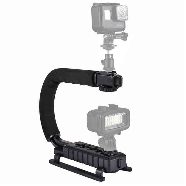 PULUZ U/C Shaped Video Bracket Holder Handheld Camera Stabilizer Grip for Canon Nikon Sony Smartphone and Flash Light Monitor