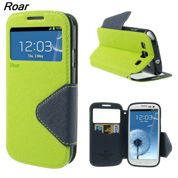 For Samsung Galaxy S3 Case Original ROAR <font><b>KOREA</b></font> View Window Leather <font><b>Mobile</b></font> <font><b>Phone</b></font> Case Flip Cover For Samsung Galaxy S3 i9300