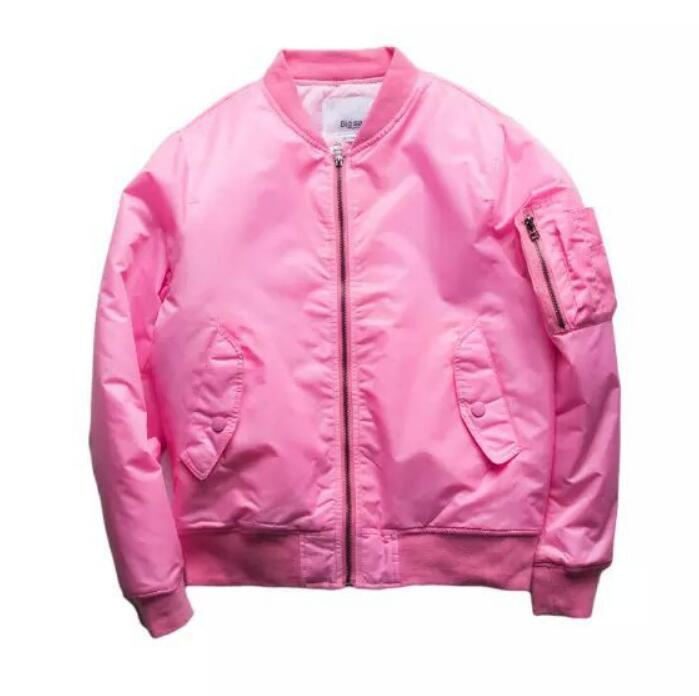 Pink Pilot <font><b>Jacket</b></font> Mens Quilted <font><b>Bomber</b></font> <font><b>Jackets</b></font> 2017 New Military Style Side Pocket Stand Collar Flight Coats Free Shipping