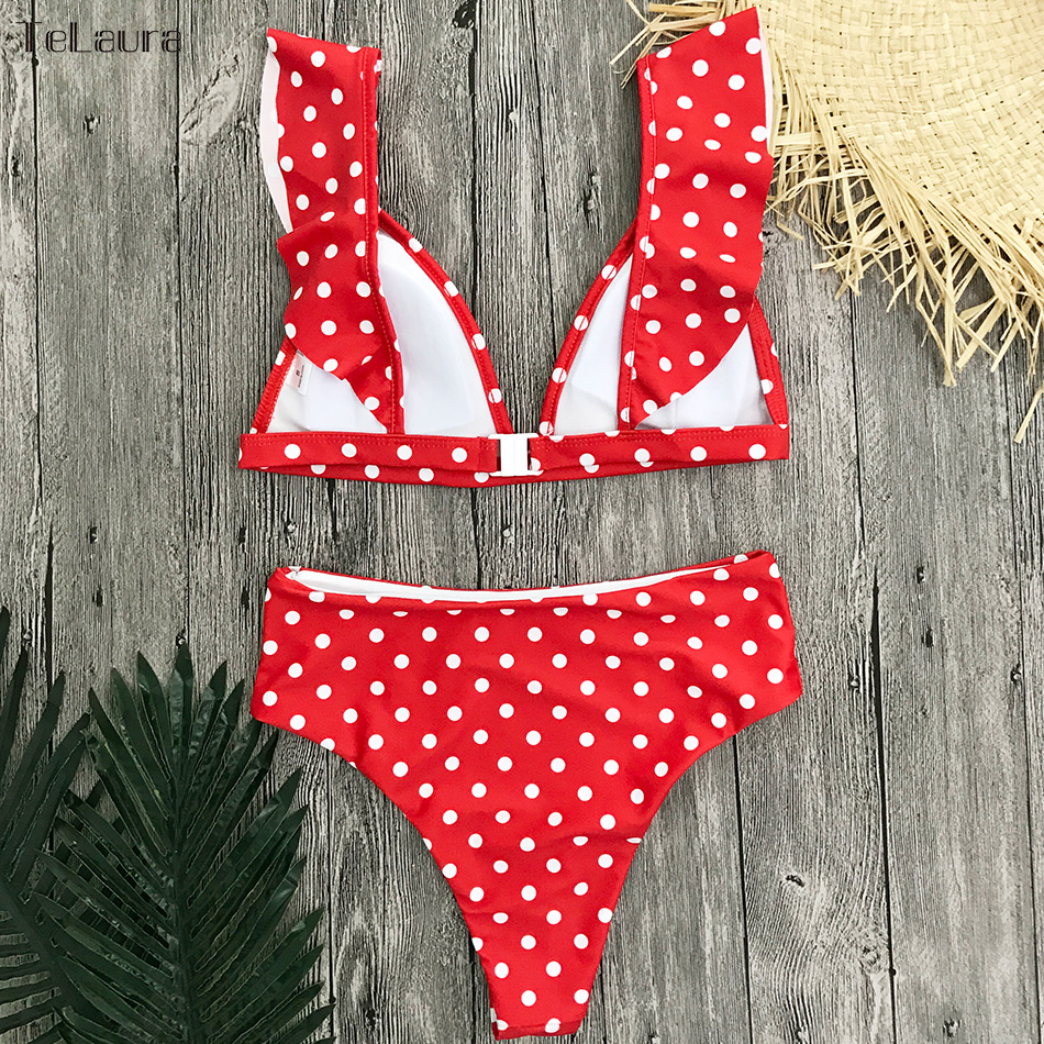 HTB1XHqHib1YBuNjSszeq6yblFXaE 2019 Sexy High Waist Bikini Women Swimwear Push Up Swimsuit Ruffle Bathing Suit Polka Dot Biquinis Summer Beach Wear Female