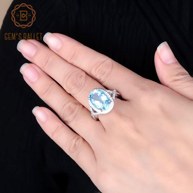 Gem's Ballet classique 8.15Ct naturel bleu ciel bagues en topaze pour les femmes de mariage en argent Sterling 925 bague de pierres précieuses bijoux de qualité cadeau