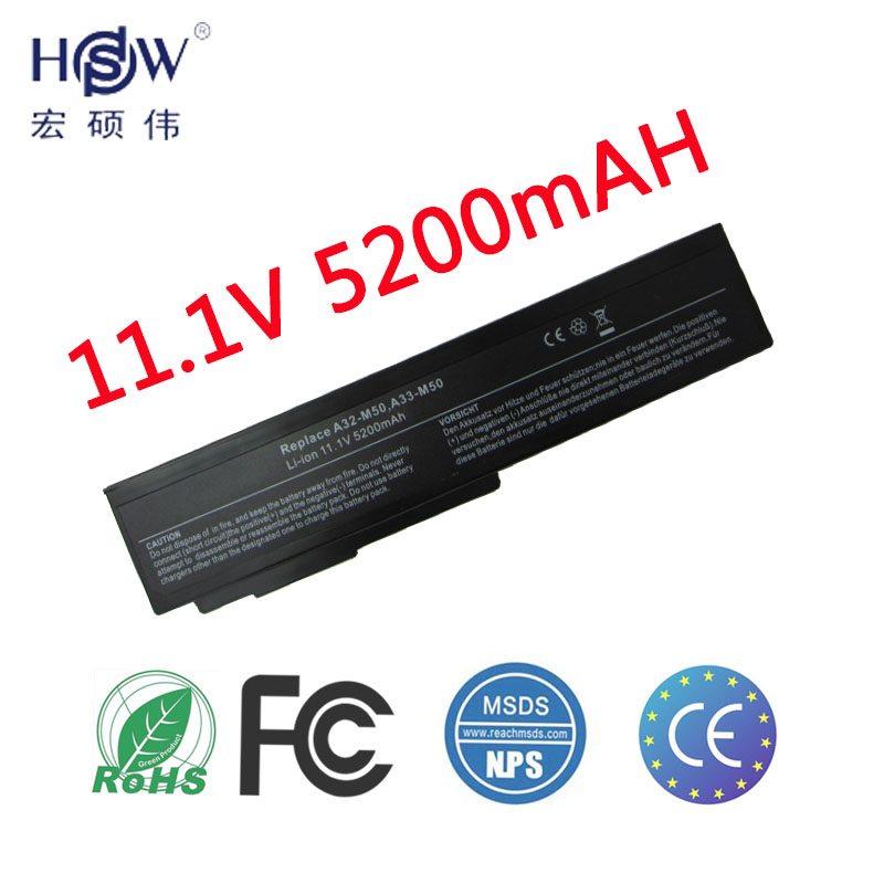 מחשב נייד HSW Laptop עבור Asus A32-M50 A33-M50 A32-N61 N61J M51 M60 M70 G50 G51J G50v N43 N53 X55 X57 X64 X64 L50 G60 VX5 סוללה