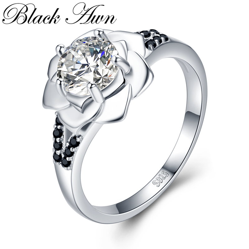 2019 New Flower Romantic 925 Sterling Silver Fine Jewelry Engagement Black Spinel Engagement  Ring For Women Anillos Mujer GG073