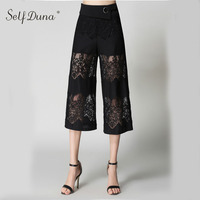 Self Duna 2017 Summer Women Black Lace Wide Leg Pants Transpareet Hollow Out Loose Female Cropped