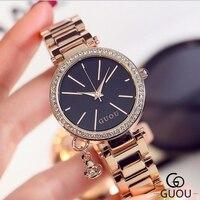 GUOU Brand Diamond Wrist Watches Fashion Pendant Watch Women Watches Luxury Rose Gold Watch Full Steel
