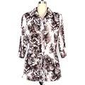 BFDADI New Autumn Rose flower printing Women Blouses String belt Shirts Female Ladies Casual Shirt Tops Plus Size 2844-1