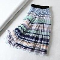 2019 Women Stripe Mesh Pleated Skirt Casual Midi Skirt Striped High Waist Skirt