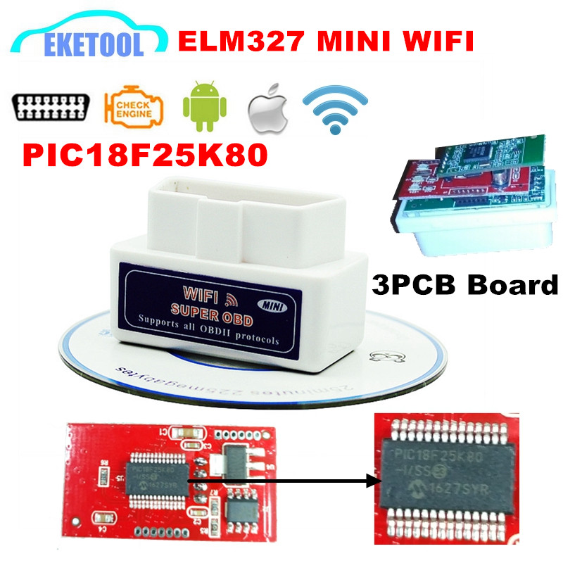 Prix pour Super MINI V1.5 Matériel PIC18F25K80 Blanc ELM327 WIFI Soutient Tous Les Protocoles OBD2 ELM 327 WI-FI Pour Android Couple/iOS/PC