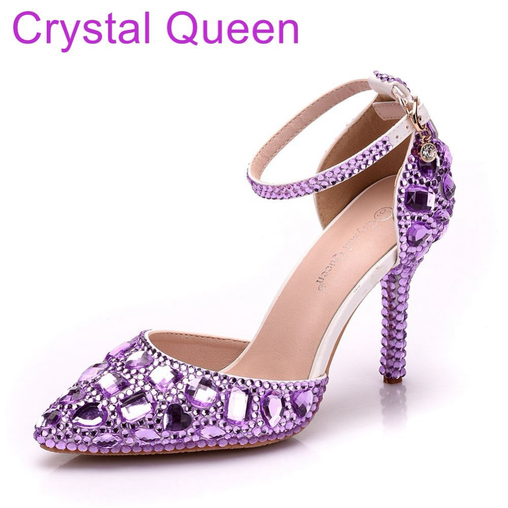 Crystal Queen Women Sandals Thin Heels Pointed Toe Shoes White Wedding  Bridals Shoes Plus Size 42 Rhinestone High Heel Sandals 9b6aba318a74