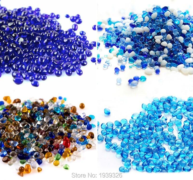 Colored Decorative Glass Marble Beads 400g Glass Pebble Stones Swimming Pool Garden Ornament Fish Tank Vase Aquarium Accessories