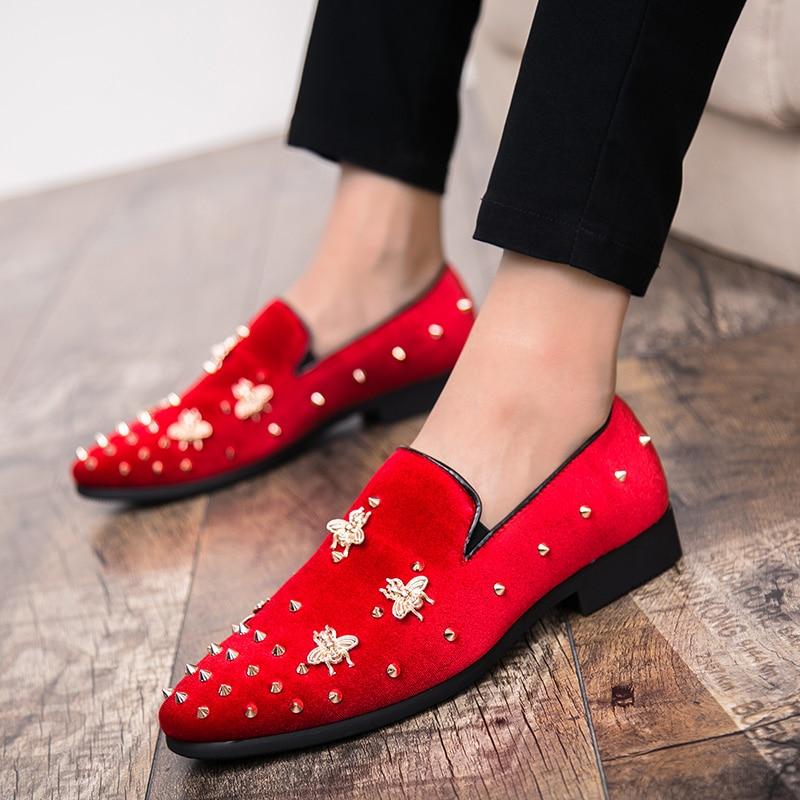 New Fashion Gold Top and Metal Toe Men Velvet Dress shoes Italian men's dress shoes Handmade Loafers
