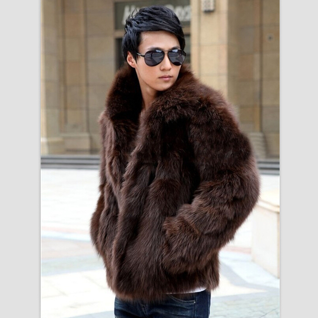 2016 Winter Handsome Men Faux Fur Coat Thick Warm None Decoration Solid Jackets Plus Size Fox Fur Coats XS-XXXL  Men Overcoat