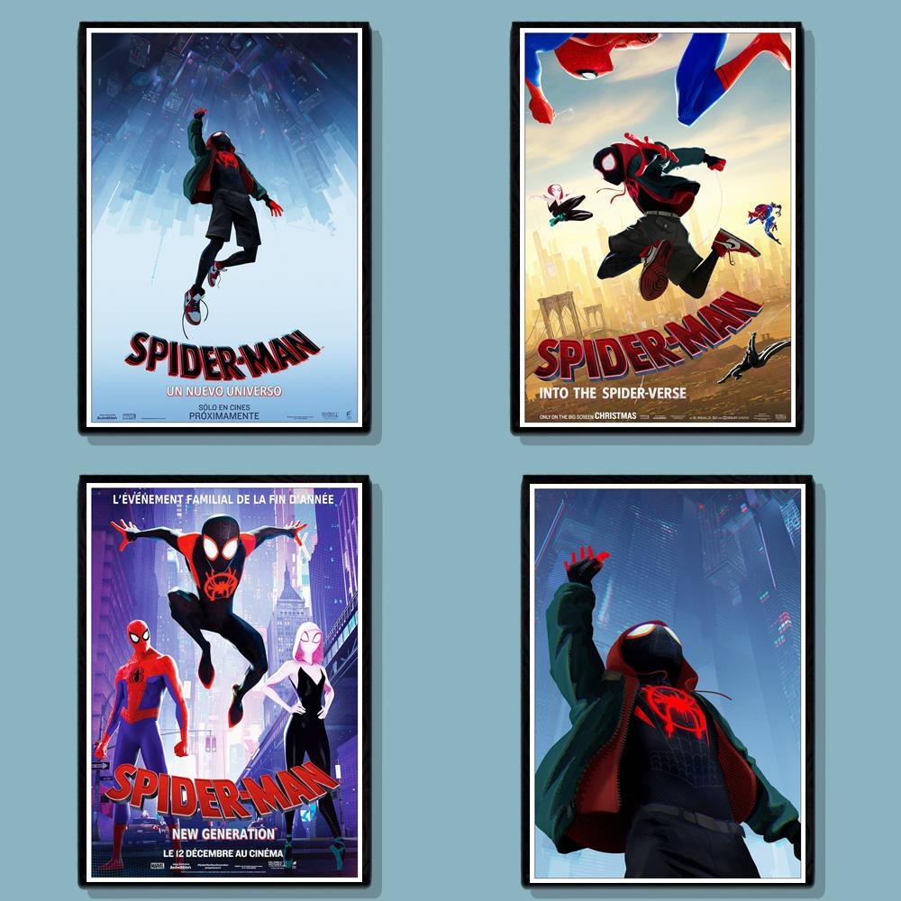 Movie SpiderMan Into The SpiderVerse Poster Wall Stickers Painting Coated Poster White Paper For Home Bar Wall Decor