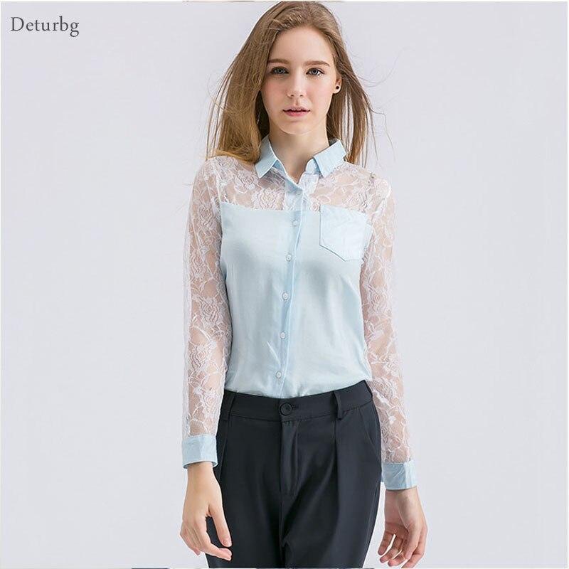 Mujeres Sexy Lace Patchwork Blusa  Otoño Ladies Casual Volver Ver a través de Ca