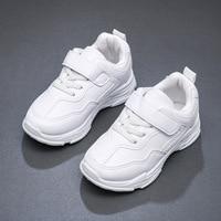 أحذية رياضية للأطفال من جلد البولي يوريثان أحذية رياضية كاجوال بيضاء وسوداء قابلة للتنفس ومقاومة للانزلاق لرياضة الربيع والشتاء