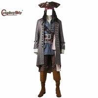 Косплэй DIY Пираты Карибского моря костюм Капитан Джек Воробей Косплэй костюмы на Хэллоуин для мужчин наряд индивидуальный заказ