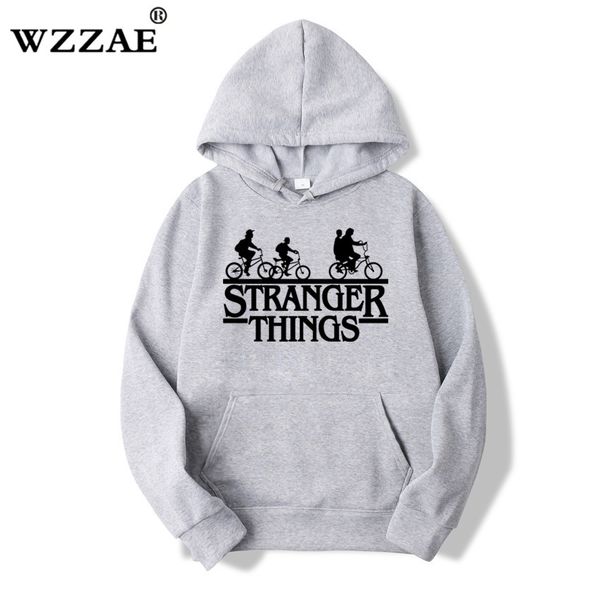 2019 Trendy Faces Stranger Things Hooded Mens Hoodies and Sweatshirts Oversized for Autumn with Hip Hop Winter Hoodies Men Brand girl