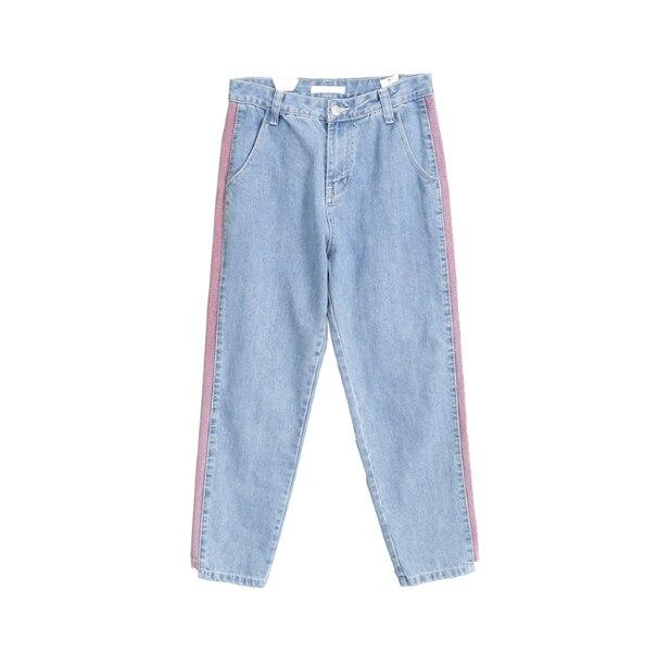 Harem Denim Jeans Side Purple Stripe Streetwear Button Zipper Fly Gloria Jeans Pantalones Washed Blue Full Length 3